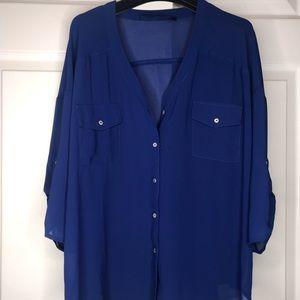 Royal blue sheer blouse - Francesca's